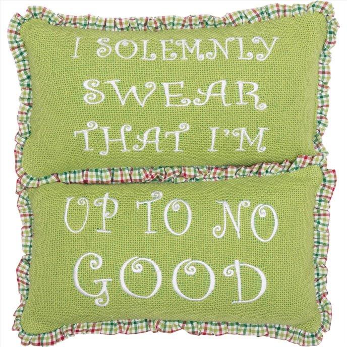 Whimsical Christmas Pillows Up To No Good Set of 2 7x13 Thumbnail