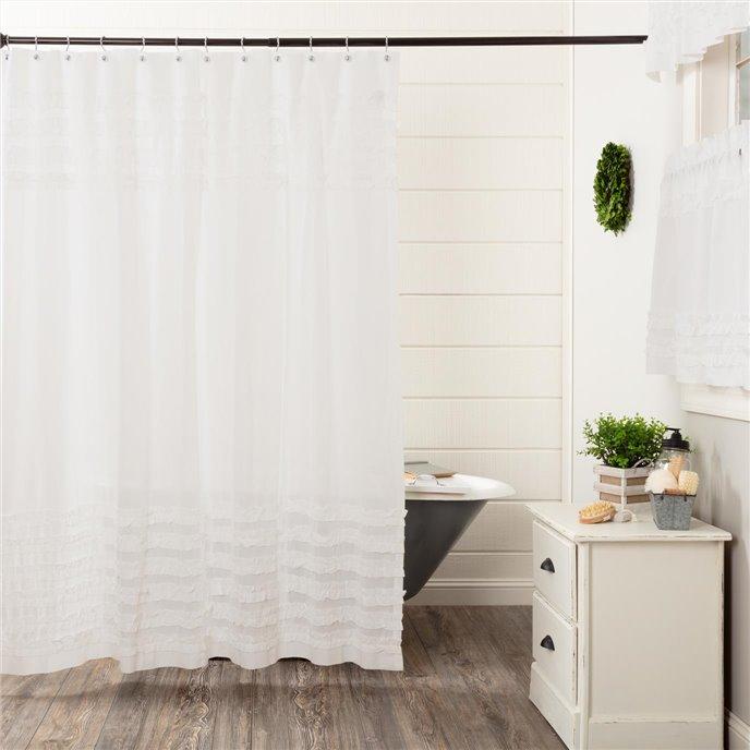 White Ruffled Sheer Petticoat Shower Curtain 72x72 Thumbnail