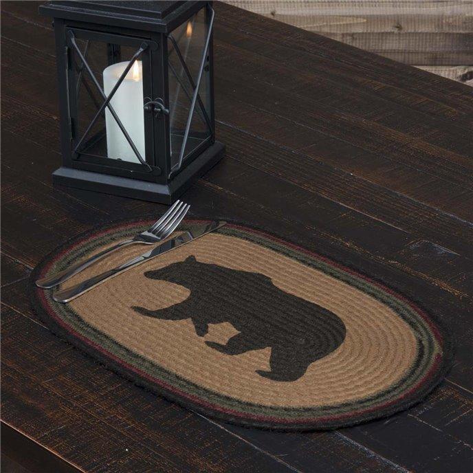 Wyatt Stenciled Bear Jute Placemat Oval Set of 6 12x18 Thumbnail