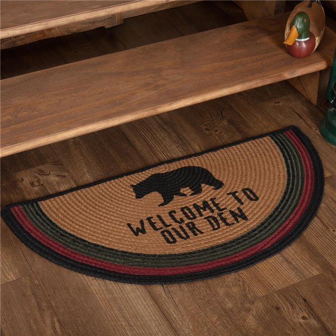 Wyatt Stenciled Bear Jute Rug Half Circle Welcome to Our Den 16.5x33 Thumbnail