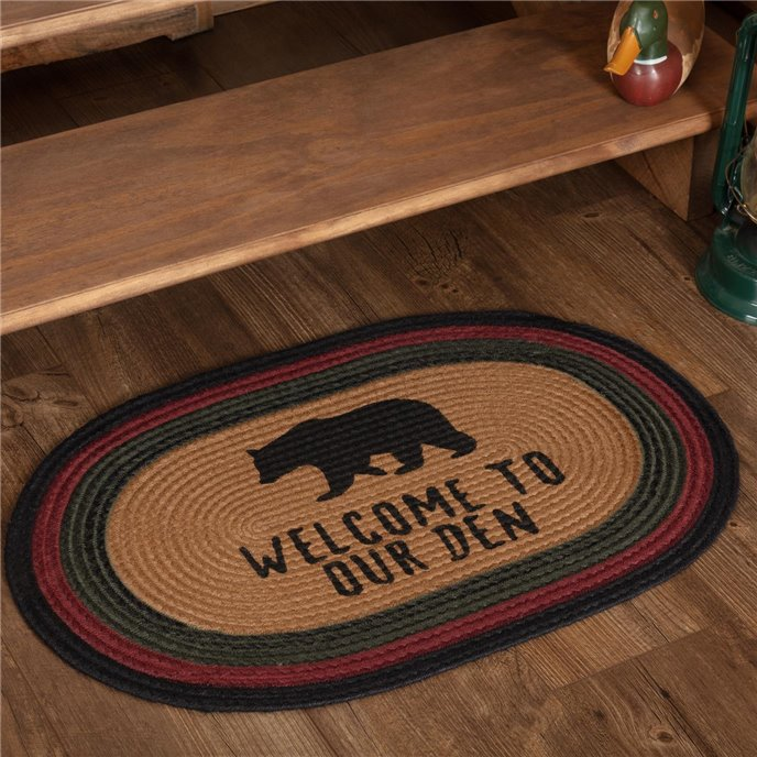 Wyatt Stenciled Bear Jute Rug Oval Welcome to Our Den 20x30 Thumbnail