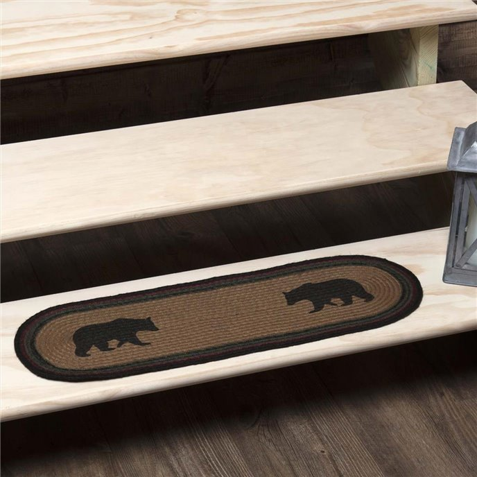 Wyatt Stenciled Bear Jute Stair Tread Oval Latex 8.5x27 Thumbnail