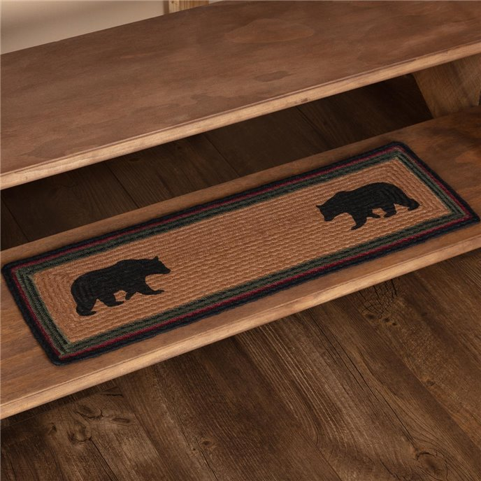 Wyatt Stenciled Bear Jute Stair Tread Rect Latex 8.5x27 Thumbnail
