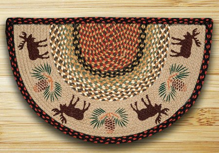 "Moose / Pinecone Braided and Printed Slice Rug 18""x29"" Thumbnail"