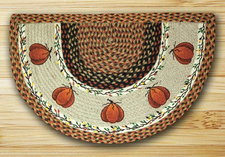 "Harvest Pumpkin Braided and Printed Slice Rug 18""x29"" Thumbnail"