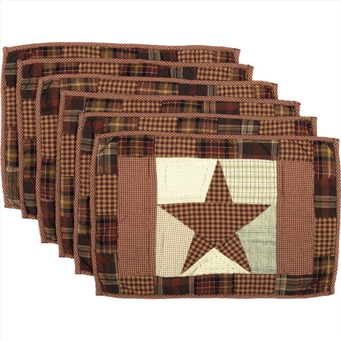 Abilene Star Quilted Placemat Set of 6 12x18 Thumbnail