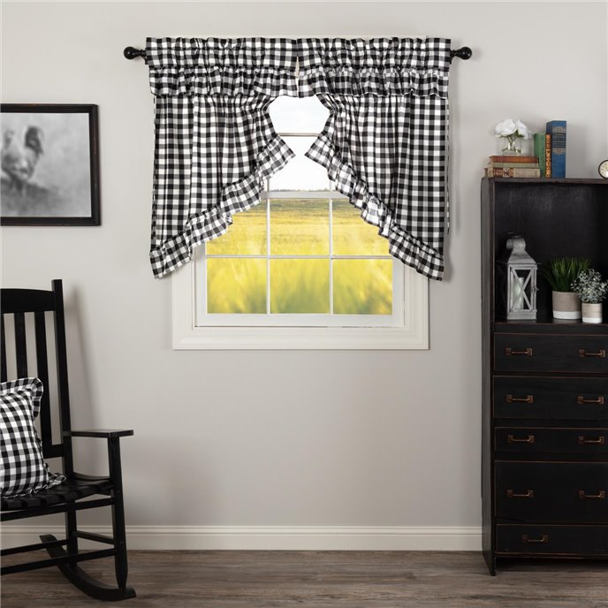 Annie Buffalo Black Check Ruffled Prairie Swag Set of 2 36x36x18 Thumbnail