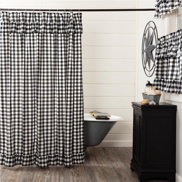 Annie Buffalo Black Check Ruffled Shower Curtain 72x72 Thumbnail