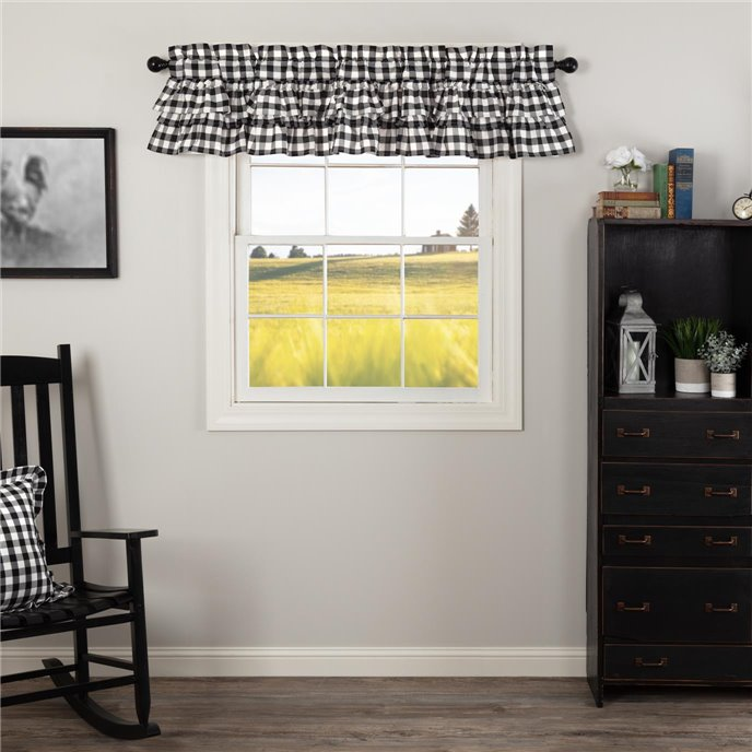 Annie Buffalo Black Check Ruffled Valance 16x72 Thumbnail