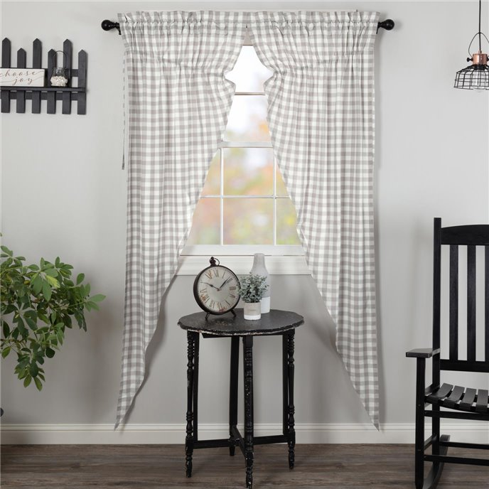 Annie Buffalo Grey Check Prairie Long Panel Set of 2 84x36x18 Thumbnail