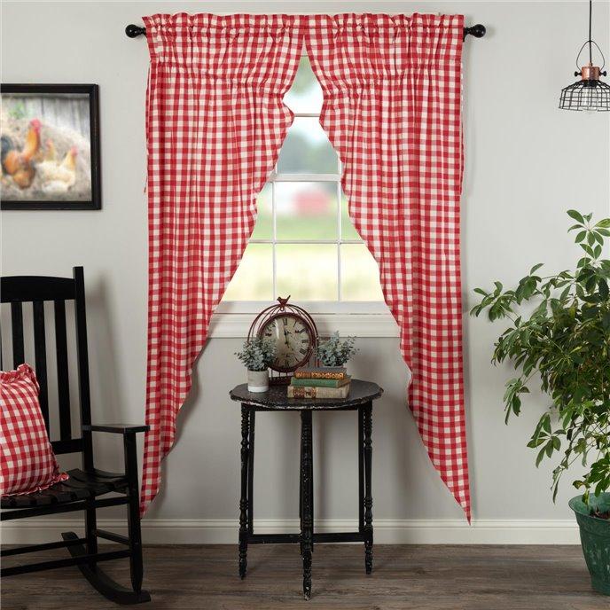Annie Buffalo Red Check Prairie Long Panel Set of 2 84x36x18 Thumbnail
