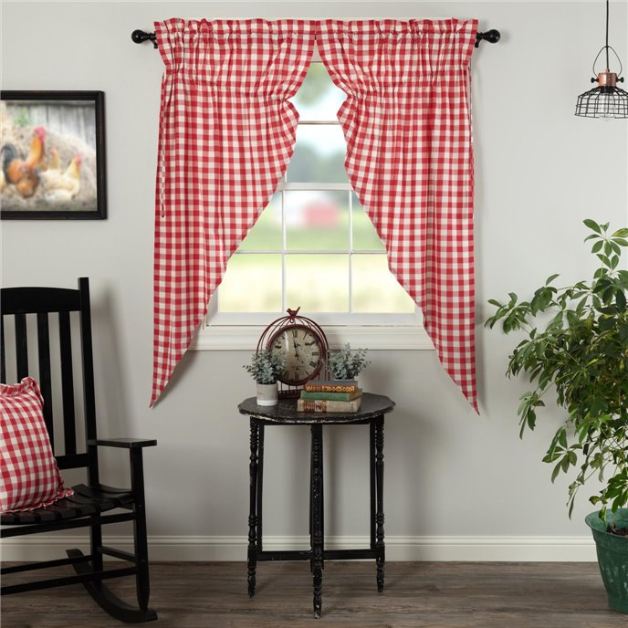 Annie Buffalo Red Check Prairie Short Panel Set of 2 63x36x18 Thumbnail