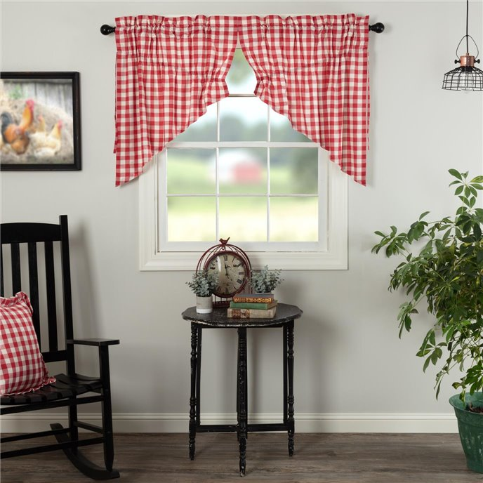 Annie Buffalo Red Check Prairie Swag Set of 2 36x36x18 Thumbnail