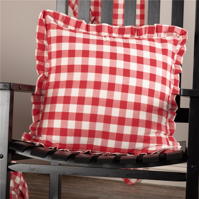 Annie Buffalo Red Check Ruffled Fabric Pillow 18x18 Thumbnail