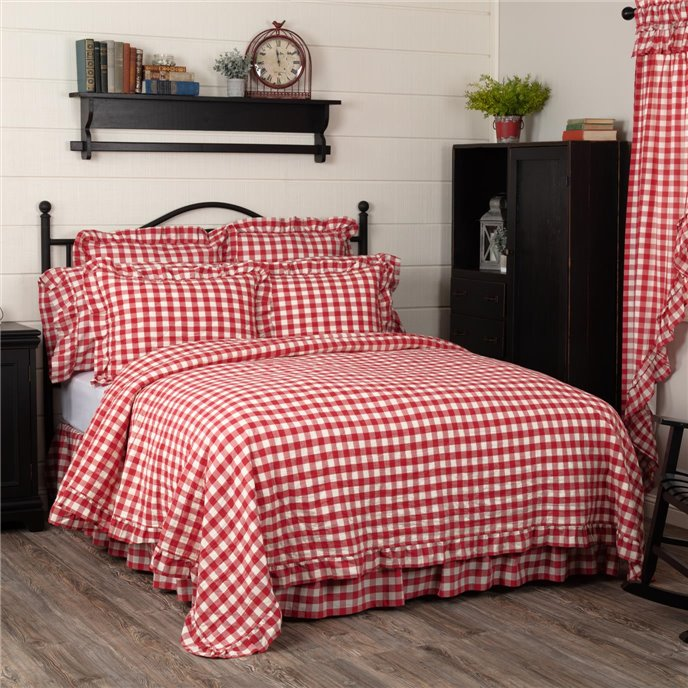 Annie Buffalo Red Check Ruffled Queen Quilt Coverlet 90Wx90L Thumbnail