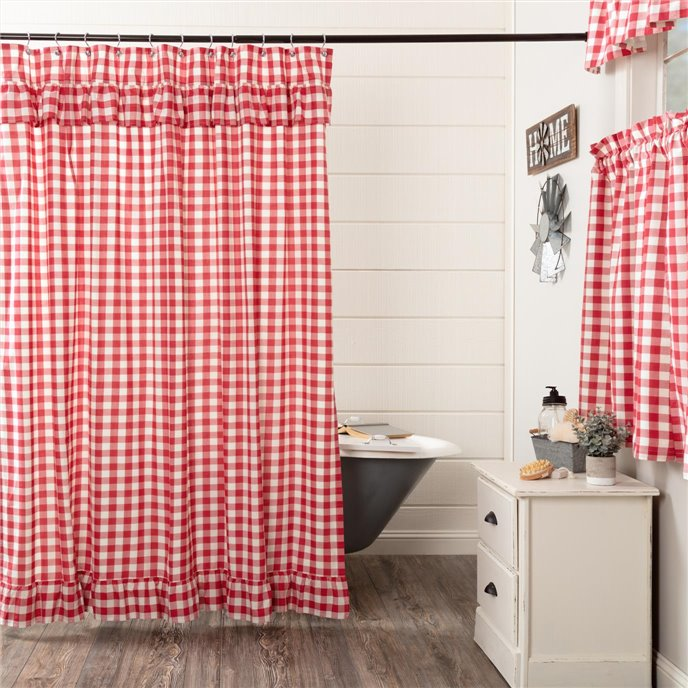 Annie Buffalo Red Check Ruffled Shower Curtain 72x72 Thumbnail
