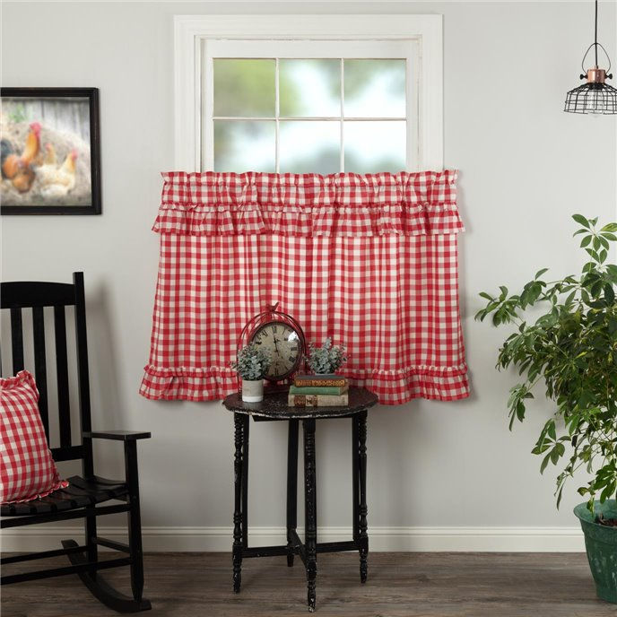 Annie Buffalo Red Check Ruffled Tier Set of 2 L36xW36 Thumbnail