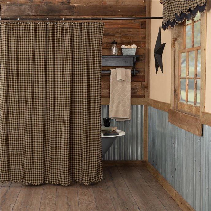 Black Check Scalloped Shower Curtain 72x72 Thumbnail