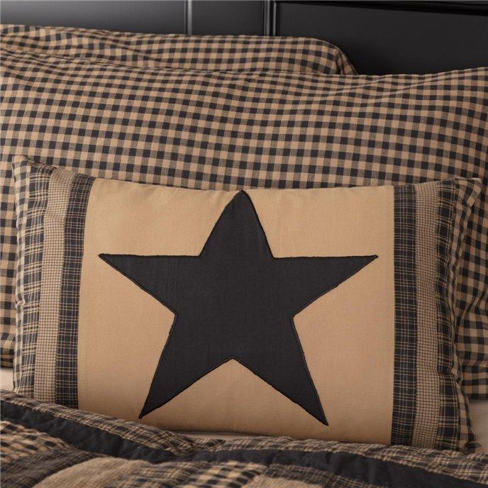 Black Check Star Patch Pillow 14x22 Thumbnail