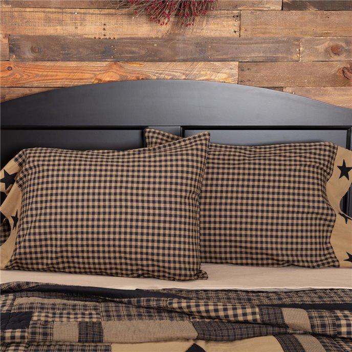 Black Check Star Standard Pillow Case Set of 2 21x30 Thumbnail