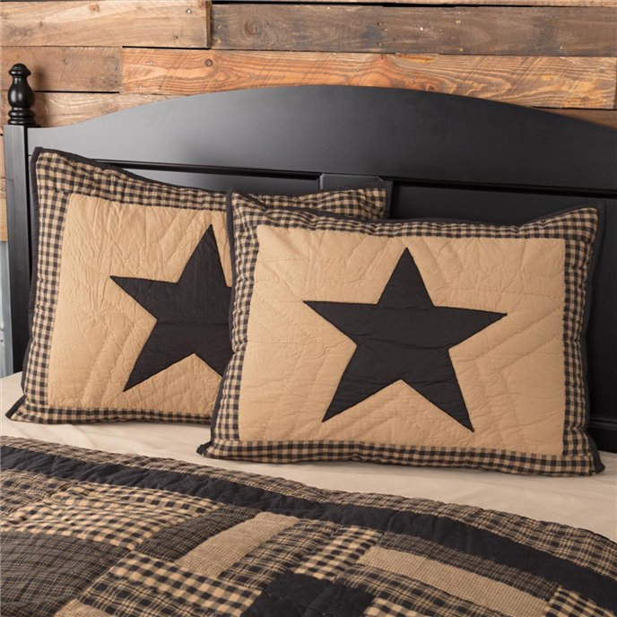 Black Check Star Standard Sham 21x27 Thumbnail