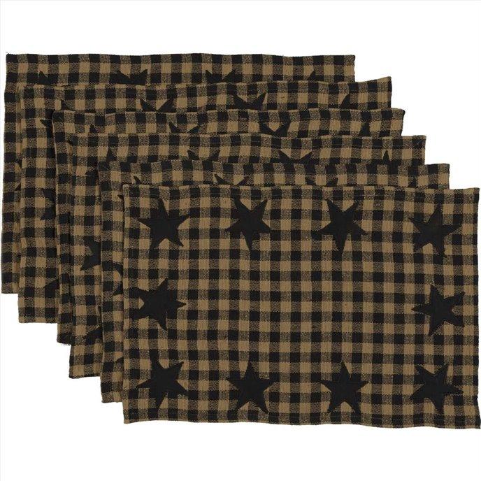 Black Star Placemat Set of 6 12x18 Thumbnail