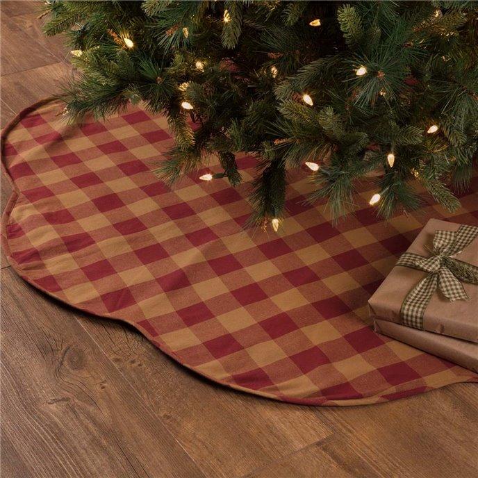 Burgundy Check Scalloped Tree Skirt 60 Thumbnail