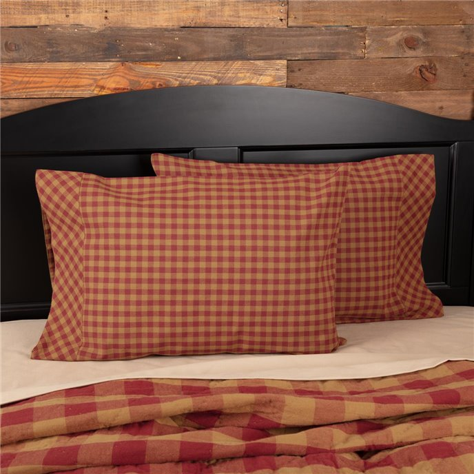 Burgundy Check Standard Pillow Case Set of 2 21x30 Thumbnail
