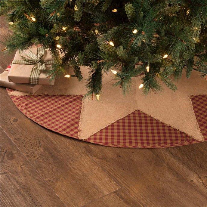 Burgundy Check Star Tree Skirt 48 Thumbnail