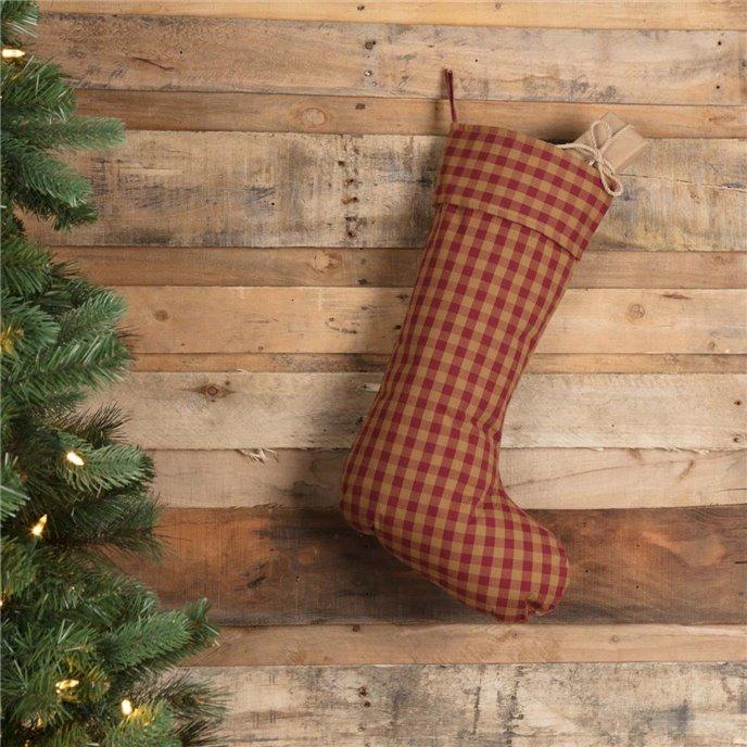 Burgundy Check Stocking 12x20 Thumbnail