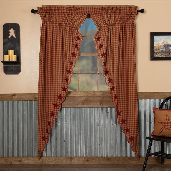 Burgundy Star Scalloped Prairie Long Panel Set of 2 84x36x18 Thumbnail