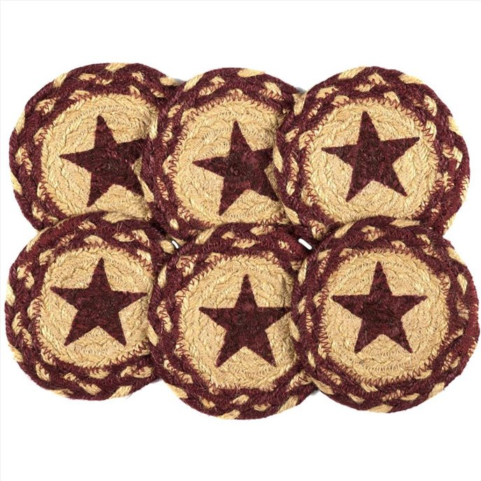 Burgundy Tan Jute Coaster Stencil Star Set of 6 Thumbnail
