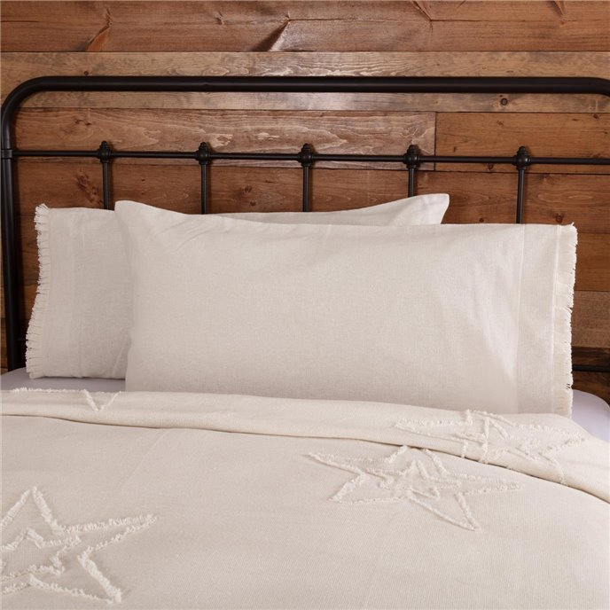 Burlap Antique White King Pillow Case w/ Fringed Ruffle Set of 2 21x40 Thumbnail