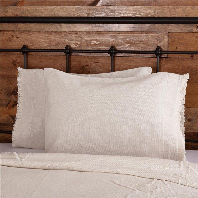 Burlap Antique White Standard Pillow Case w/ Fringed Ruffle Set of 2 21x30 Thumbnail
