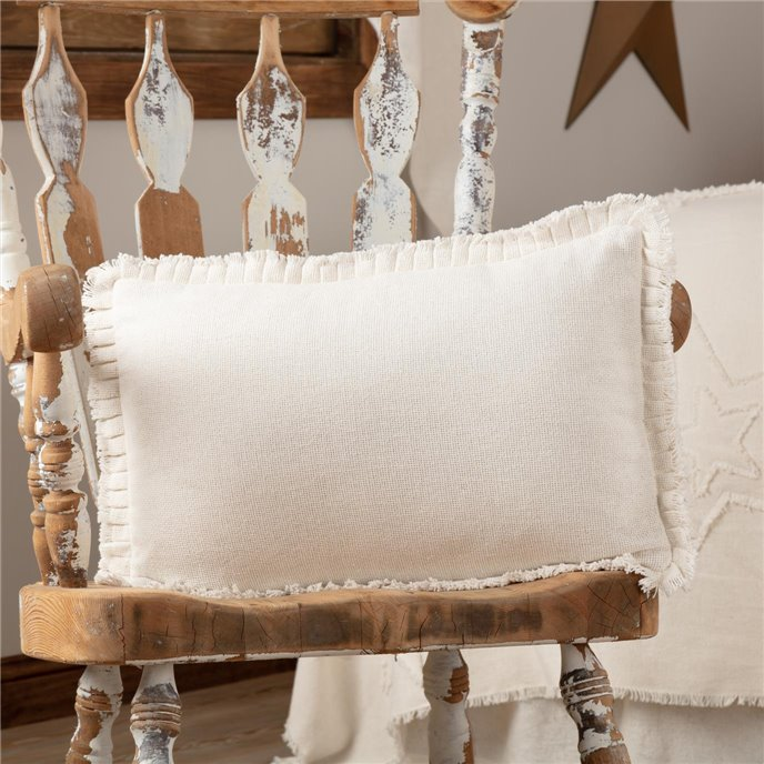 Burlap Antique White Pillow w/ Fringed Ruffle 14x22 Thumbnail