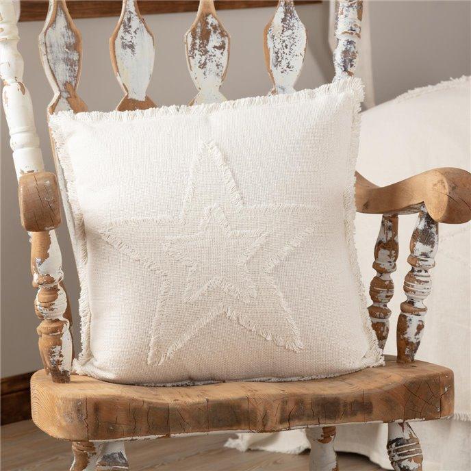 Burlap Antique White Star Pillow 18x18 Thumbnail