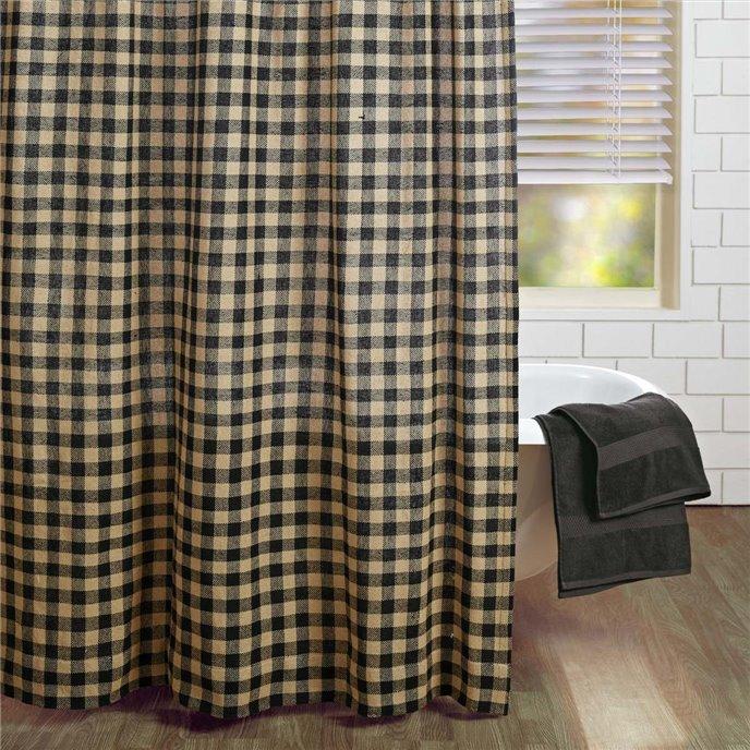 Burlap Black Check Shower Curtain 72x72 Thumbnail