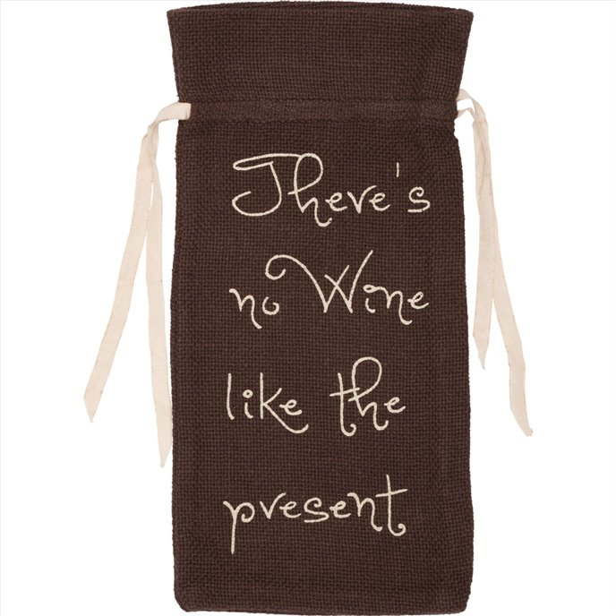 "Burlap Chocolate Wine Bag Stencil ""No Wine Like..."" 13x6.5 Thumbnail"