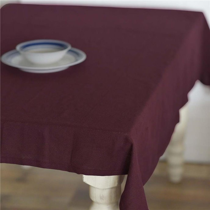 Burlap Merlot Table Cloth 60x80 Thumbnail