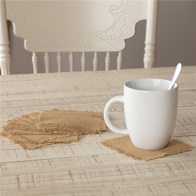 Burlap Natural Coaster Set of 12 Fringed 4x4 Thumbnail