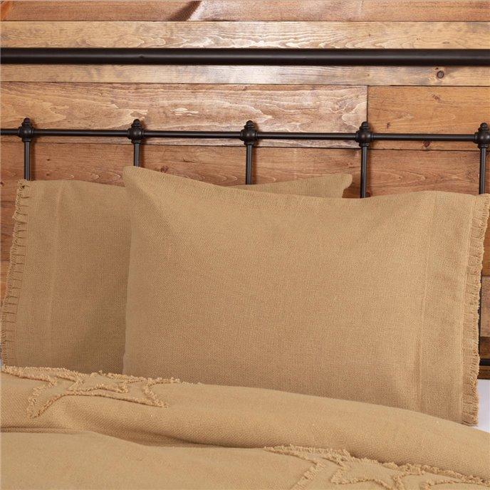 Burlap Natural Standard Pillow Case w/ Fringed Ruffle Set of 2 21x30 Thumbnail
