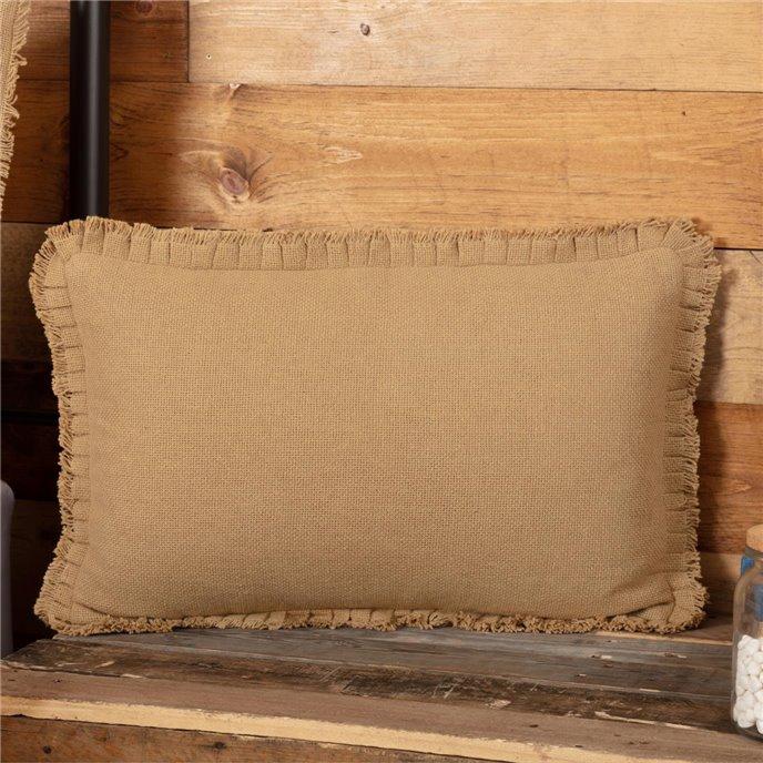Burlap Natural Pillow w/ Fringed Ruffle 14x22 Thumbnail