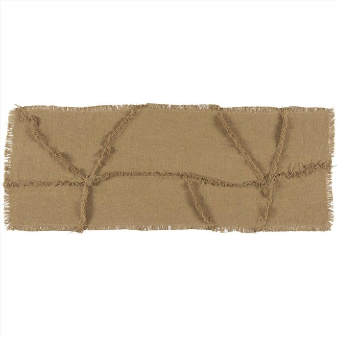 Burlap Natural Reverse Seam Patch Runner 13x36 Thumbnail