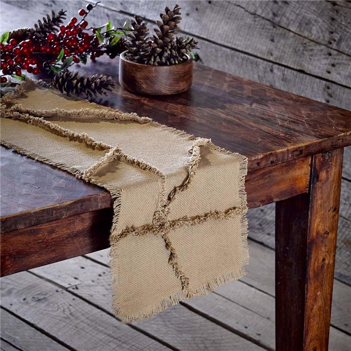 Burlap Natural Reverse Seam Patch Runner 13x48 Thumbnail