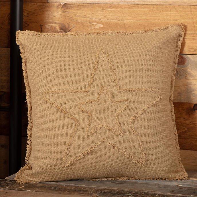 Burlap Natural Star Pillow 18x18 Thumbnail