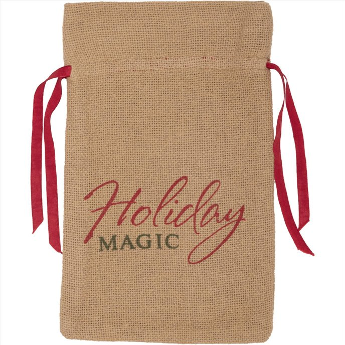 Burlap Natural Wine Bag Holiday Magic 13x6.5 Thumbnail