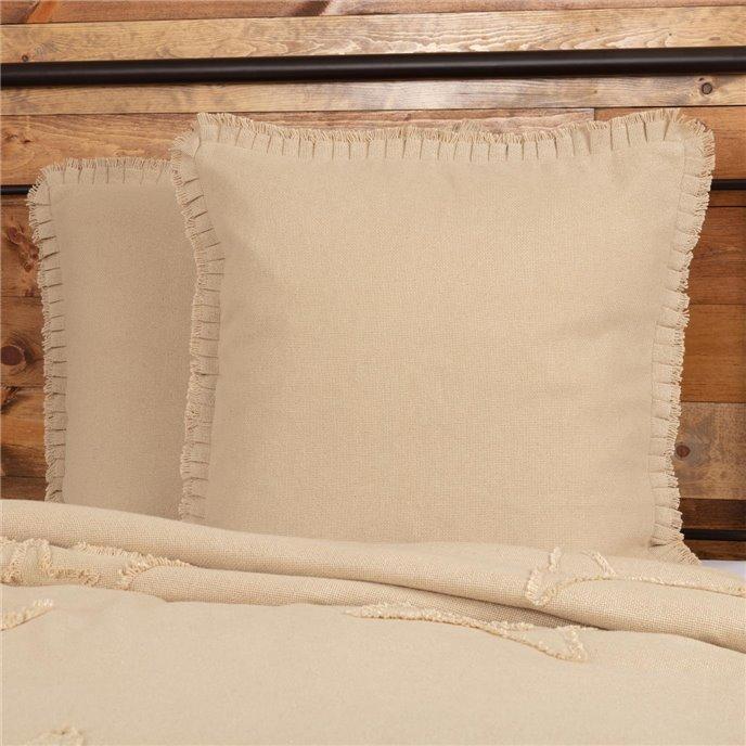 Burlap Vintage Fabric Euro Sham w/ Fringed Ruffle 26x26 Thumbnail