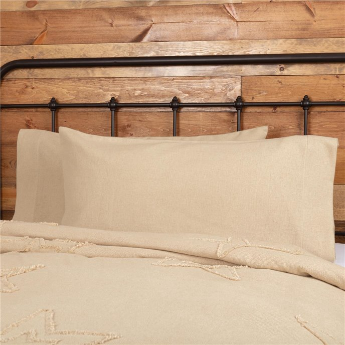 Burlap Vintage King Pillow Case Set of 2 21x40 Thumbnail