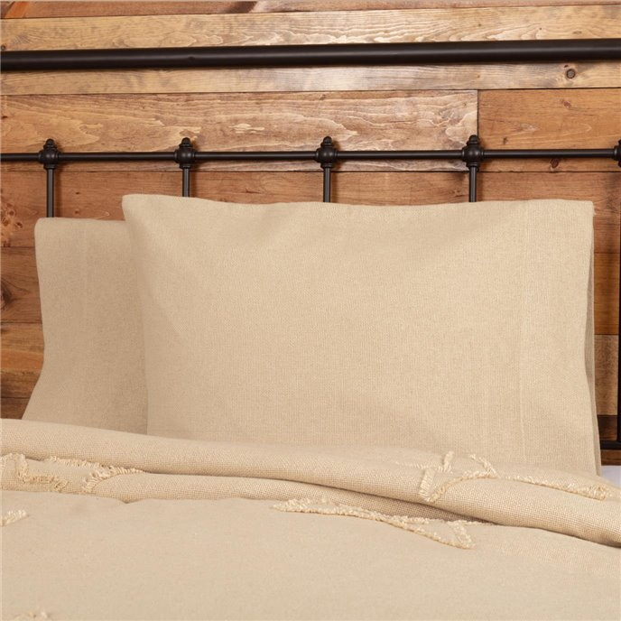Burlap Vintage Standard Pillow Case Set of 2 21x30 Thumbnail