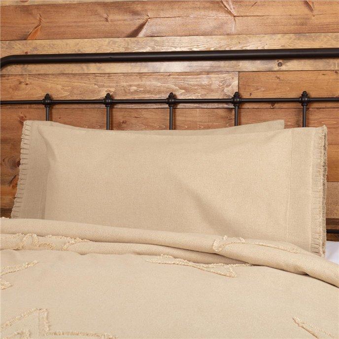 Burlap Vintage King Pillow Case w/ Fringed Ruffle Set of 2 21x40 Thumbnail